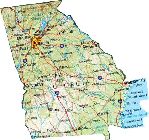 Georgia Powder Coating Customcoaters: Map Of Georgia Ga At Usa Maps